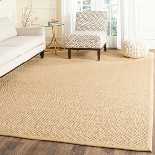 Safavieh Casual Natural Fiber Chunky Basketweave Marble Ivory / Taupe Sisal Rug|https://ak1.ostkcdn.com/images/products/7573398/P15002099.jpg?impolicy=medium