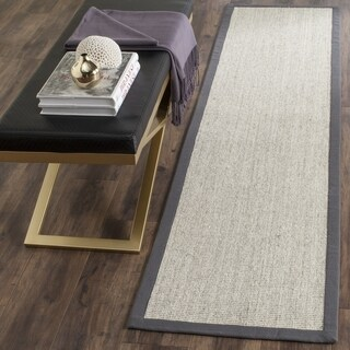 Safavieh Casual Natural Fiber Marble and Grey Border Sisal Runner Rug - 2' 6 x 12'