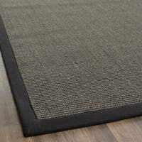 Safavieh Casual Natural Fiber Charcoal and Charcoal Border Sisal Runner Rug - 2' 6 x 4'