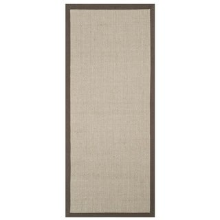 Safavieh Casual Natural Fiber Taupe and Light Brown Border Sisal Runner