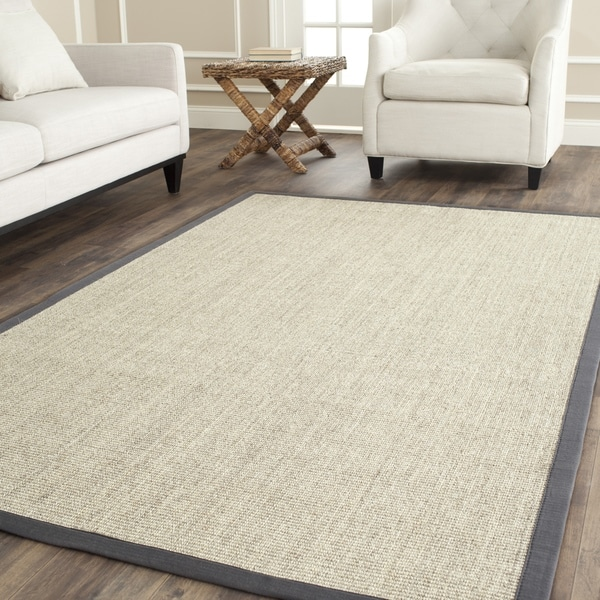 Safavieh Casual Natural Fiber Marble and Grey Border Sisal Rug - 8' x 8' Square