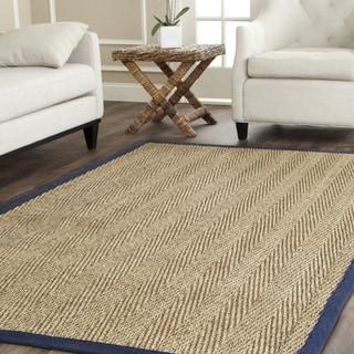 Safavieh Casual Natural Fiber Herringbone Natural and Blue Border Seagrass Rug (6' Square)