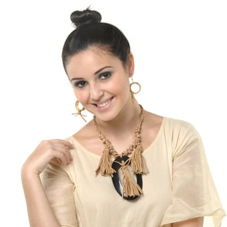 Eco Friendly Leather and Horn Tassle Necklace and Earring Set (India)