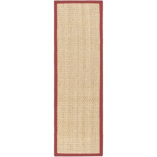 Safavieh Casual Natural Fiber Natural and Red Border Seagrass Runner (2' 6 x 10')
