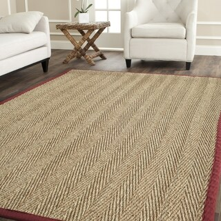 Safavieh Casual Natural Fiber Herringbone Natural and Red Border Seagrass Rug (8' Square)