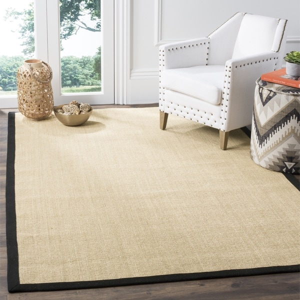 Safavieh Casual Natural Fiber Hand-Woven Resorts Maize Beige / Black Fine Sisal Rug
