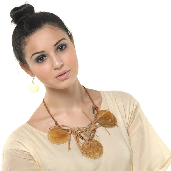 Eco Friendly Leather and Horn Signature Piece Necklace and Earring Set (India)