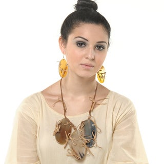 Eco Friendly Leather and Horn Necklace and Earring Set (India)