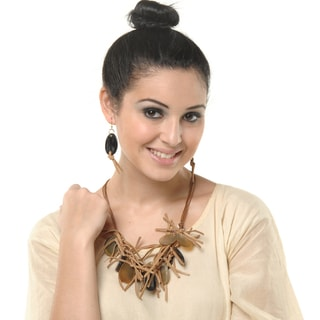 Eco Friendly Leather and Cross Section Horn Necklace and Earring Set (India)