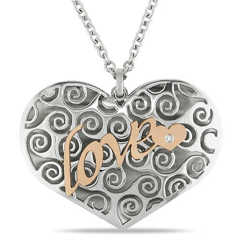 Miadora Italian Stainless Steel Two-tone Heart Necklace