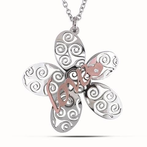 Miadora Italian Stainless Steel Two-tone Flower Necklace
