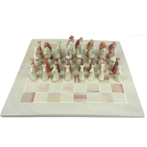 Handmade Soapstone 15-inch Board and Animal Chess Set (Kenya)