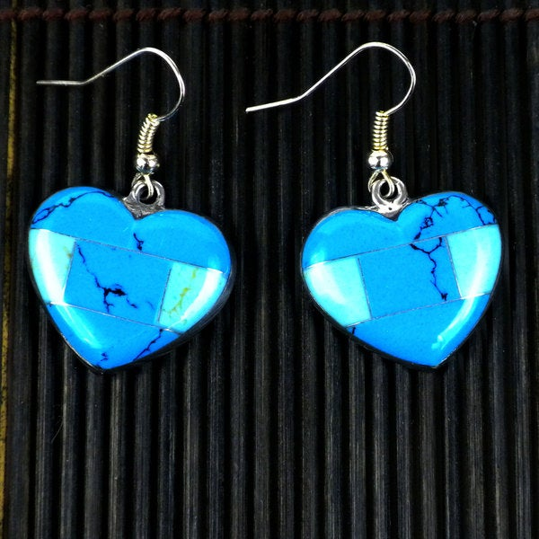 Handmade Inlaid Turquoise Heart Alpaca Silver Earrings (Mexico)