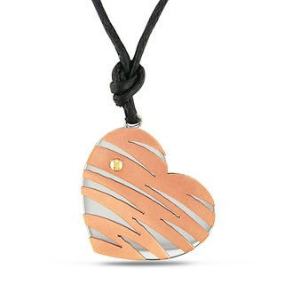 M by Miadora Italian Stainless Steel Two-Tone Heart Necklace