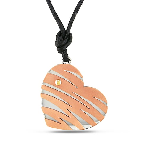 Miadora Italian Stainless Steel Two-Tone Heart Necklace - Stainless Steel