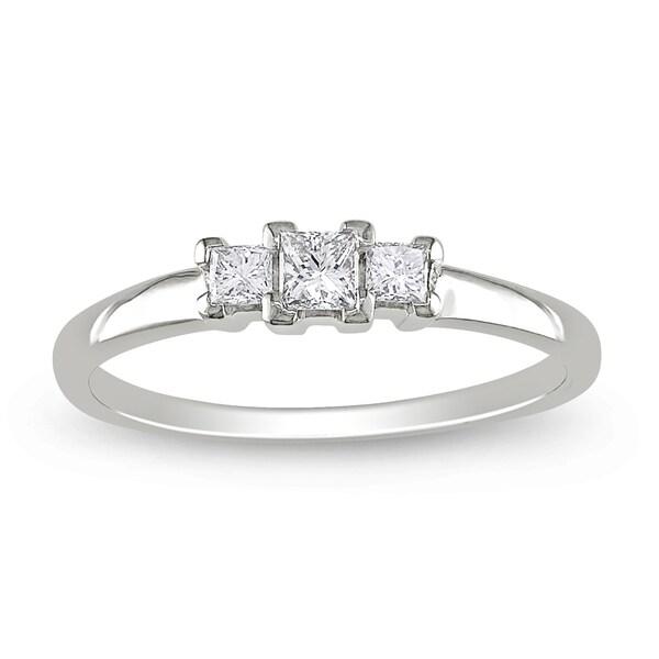 Miadora 14k White Gold 1/4ct TDW Diamond 3-stone Ring (G-H, SI1-SI2)