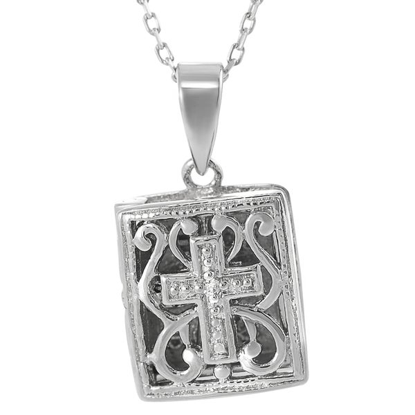 Journee Collection Sterling Silver Cubic Zirconia Opening Bible and Cross Necklace