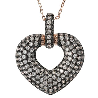 Journee Collection Rose Plated Silver Cubic Zirconia Heart Necklace