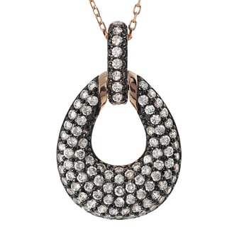 Journee Collection Rose Plated Silver Cubic Zirconia Oval Necklace