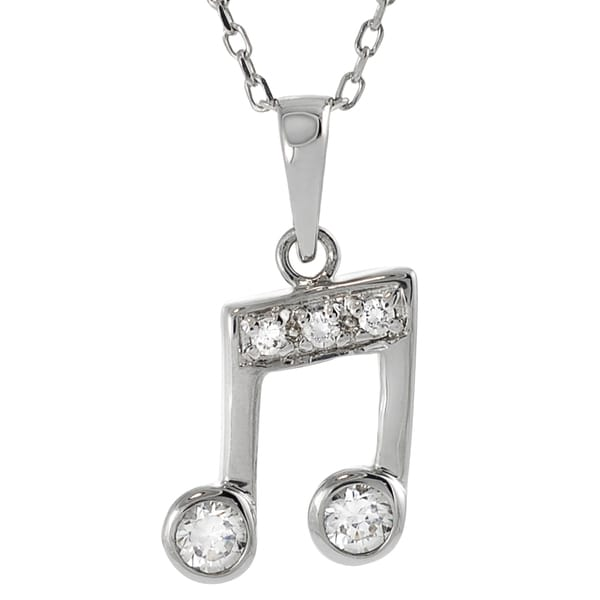 Journee Collection Sterling Silver Cubic Zirconia Musical Note Necklace
