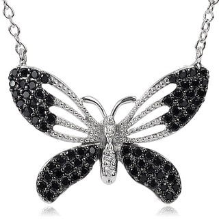 Journee Collection Rhodium Plated Silver Cubic Zirconia Butterfly Necklace