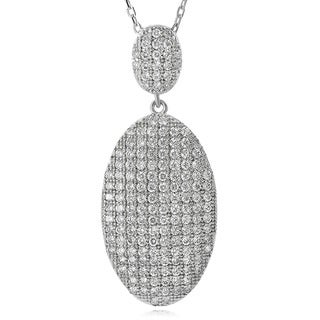 Journee Collection Sterling Silver Cubic Zirconia Double Oval Necklace