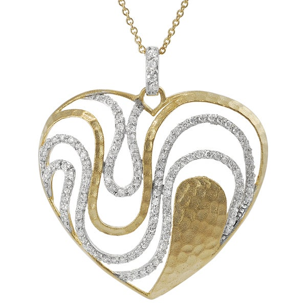 Journee Collection Gold Plated Sterling Silver Cubic Zirconia Necklace