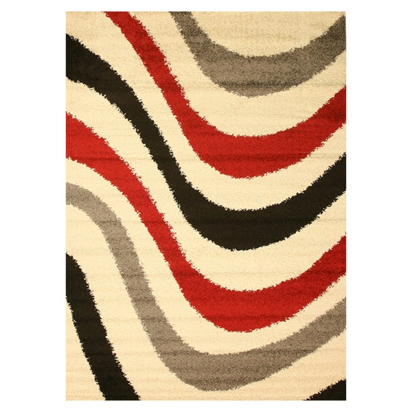Ivory Shaggy Abstract Stripe Rug