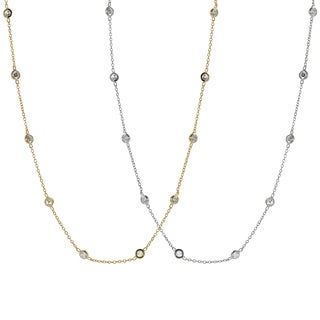 Journee Collection Silver or Goldplated Silver Cubic Zirconia Vintage Necklace