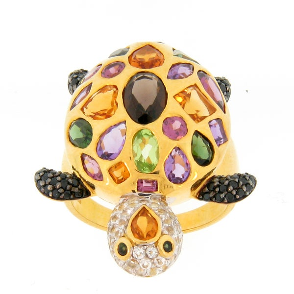 Meredith Leigh Gold over Silver Multi-gemstone Turtle Ring