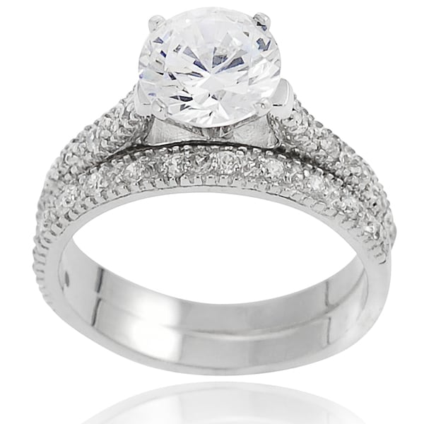 Journee Collection Sterling Silver Round-cut Pave-set Cubic Zirconia Bridal-style Ring Set
