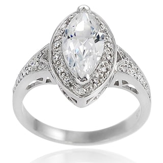 Journee Collection Sterling Silver Marquise-cut Cubic Zirconia Bridal-style Ring