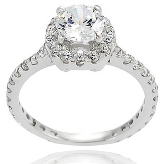 Journee Collection Sterling Silver Round-cut Prong-set Cubic Zirconia Bridal-style Ring