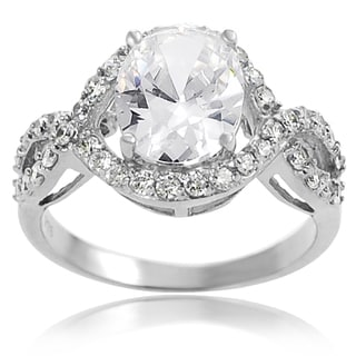 Journee Collection Sterling Silver Oval-cut Pave-set Cubic Zirconia Bridal-style Ring