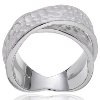 Journee Collection Sterling Silver Textured Twist Ring