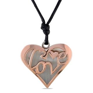 Miadora Italian Two-tone Stainless Steel Heart Necklace