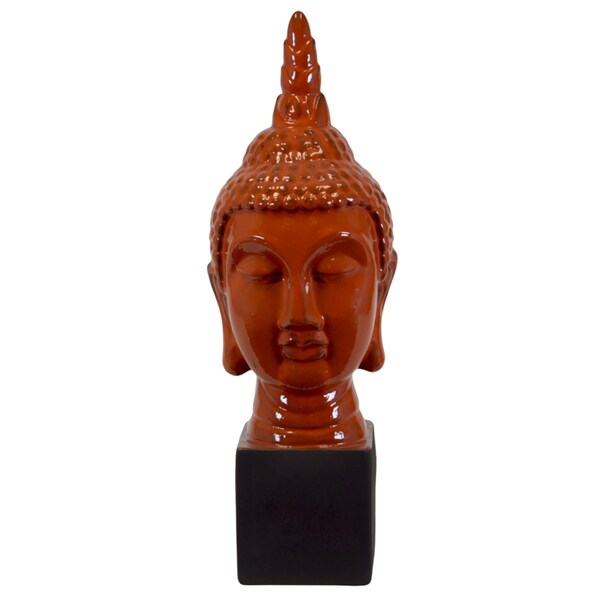 Large Orange Ceramic Buddha Statuette