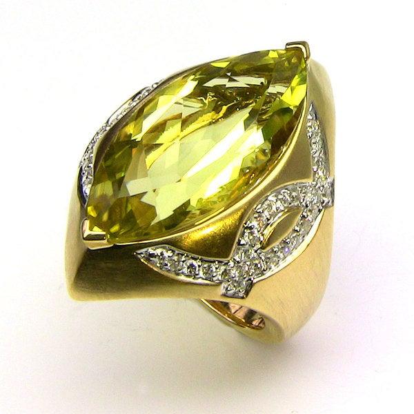 Sonia Bitton 14k Gold Lemon Quartz and 2/5ct TDW Diamond Ring (G-H, SI1-SI2)