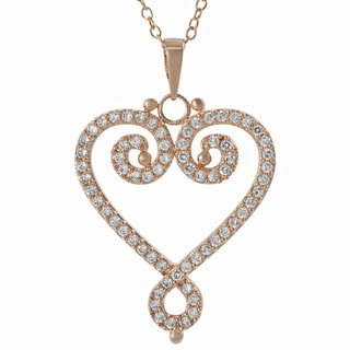 Journee Silver Rose Gold-plated Cubic Zirconia Heart Necklace