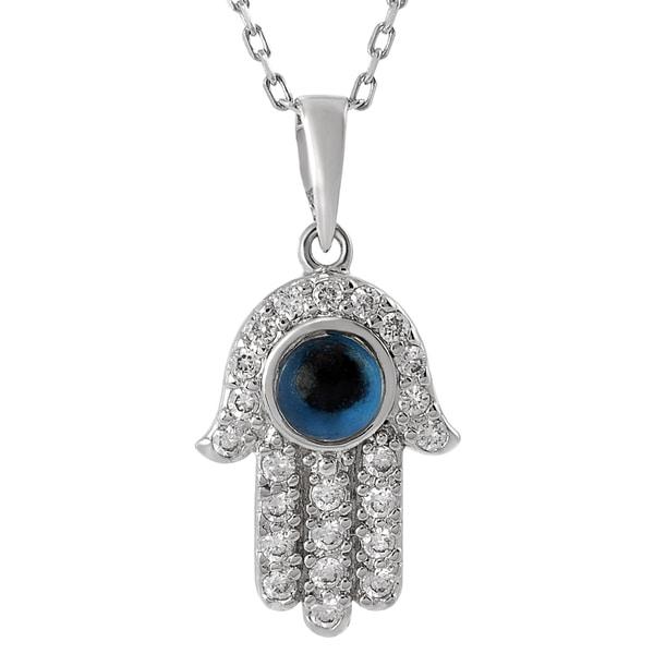 Journee Sterling Silver Cubic Zirconia Hamsa Hand Necklace