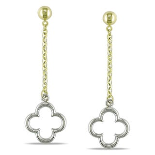 Miadora 10k Two-tone Gold Dangle Clover Earrings