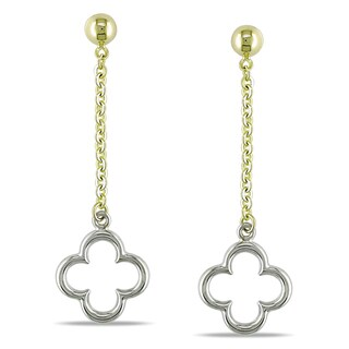 Miadora 10k Two-tone Gold Dangle Clover Earrings