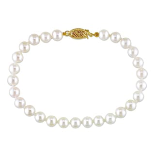 Miadora 14k Yellow Gold White Cultured Akoya Pearl Bracelet (5.5-6 mm)