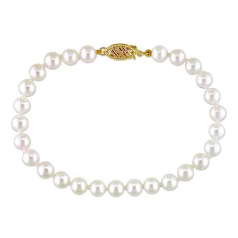 Miadora 14k Yellow Gold White Cultured Akoya Pearl Bracelet (5.5-6 mm)