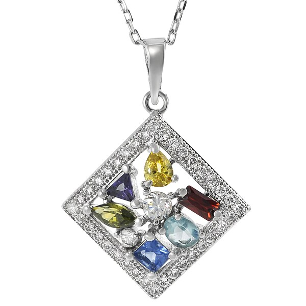 Journee Collection Sterling Silver Multi-color Cubic Zirconia Necklace