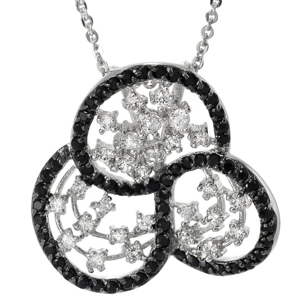 Journee Collection Sterling Silver Black and White Cubic Zirconia Vintage Necklace