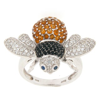 Meredith Leigh Sterling Silver Multi Gemstone Bee Ring