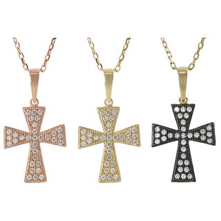 Journee Collection Silver Pave-set Cubic Zirconia Pattee Holy Cross Necklace