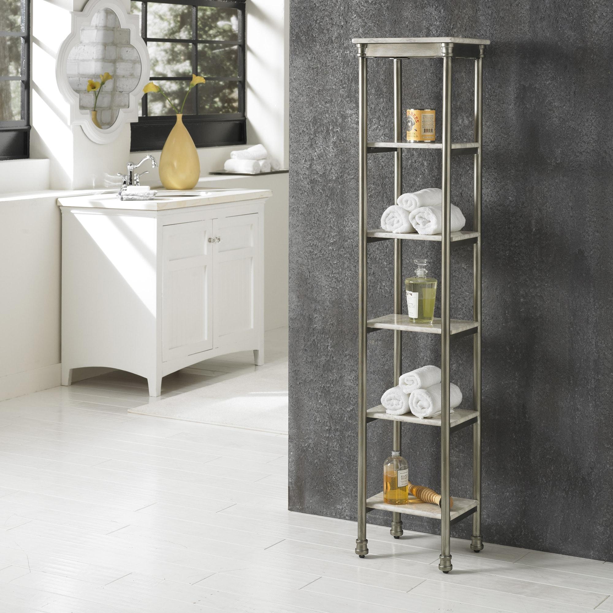 Bathroom Storage Tower 6-Tier Organizer Marble Shelves Metal Feet ...