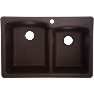Mocha EODB33229-1 Double-Basin Composite Granite Kitchen Sink